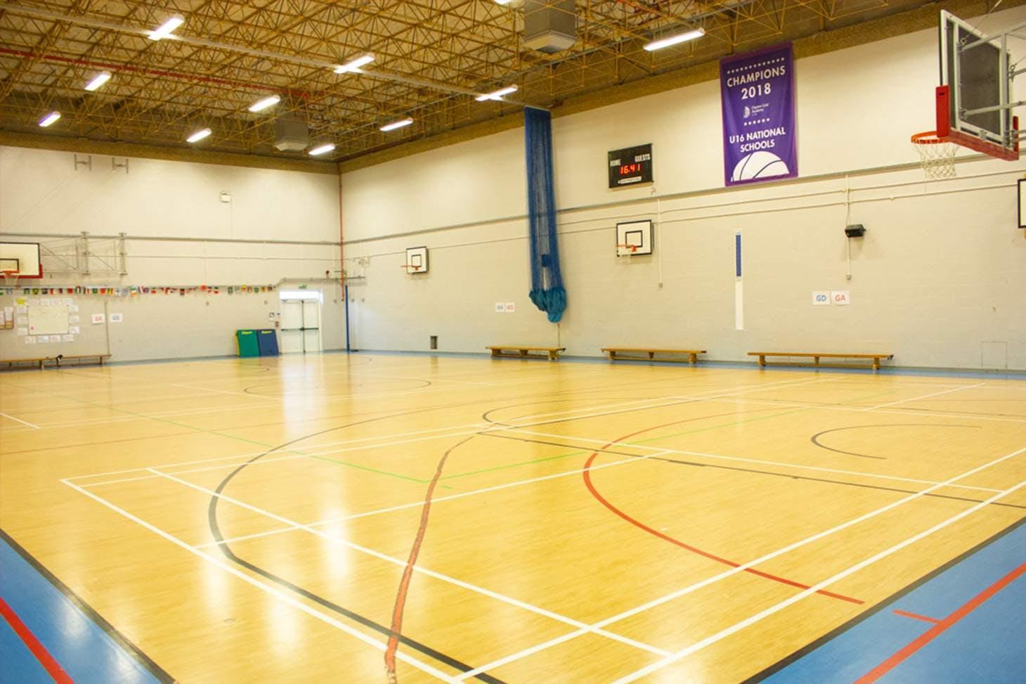 Clapton Girls' School Court   Sports hall basketball court