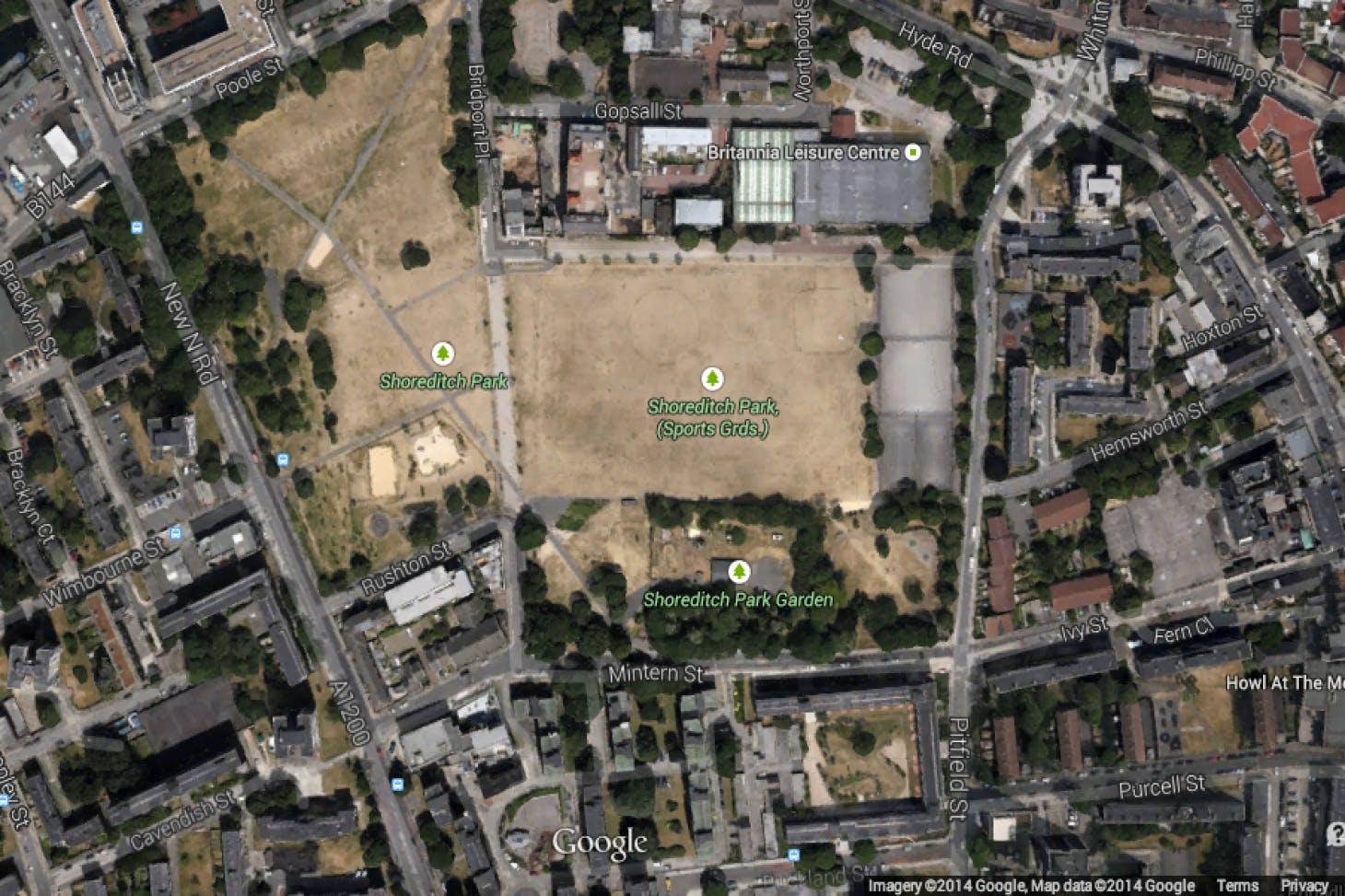 Shoreditch Park Union | Grass rugby pitch