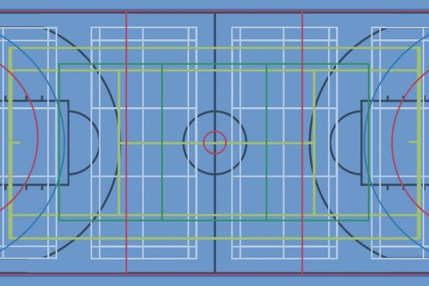 Sports Hall Court Markings: Line Colour Guide