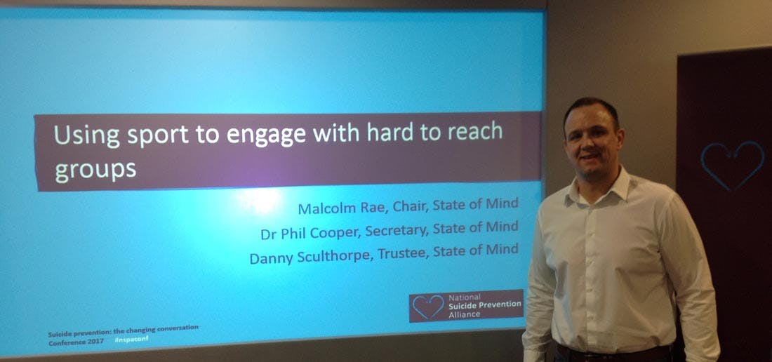 Danny Sculthorpe presenting at the National Suicide Prevention Alliance Conference